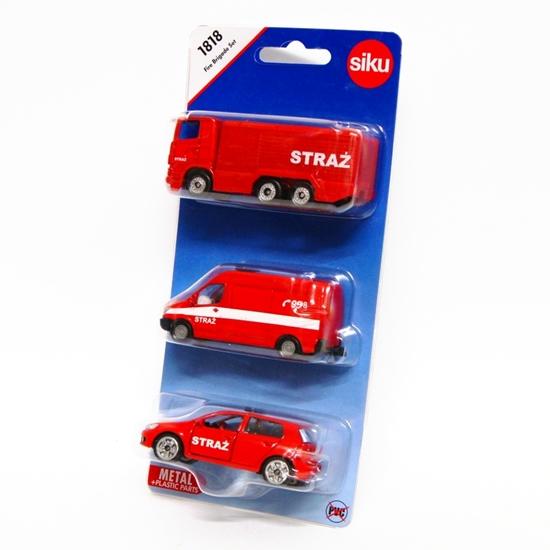 Siku 1818 Zestaw 3 samochodów straży pożarnej -wers.pols (GXP-652245)