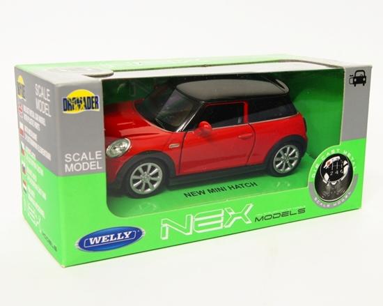 Welly 1:34 Mini Cooper New Mini Hatch - czerwony