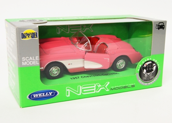 Welly 1:34 Chevrolet 1957 Corvette Cabrio - różowy