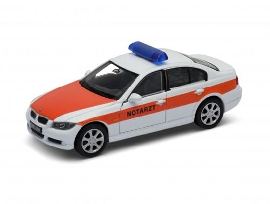 Welly 1:34 BMW 330i  NOTARZT -biało -pomarańczowy