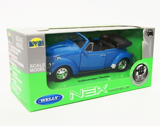 Welly 1:34 Volkswagen Beetle cabrio - niebieski