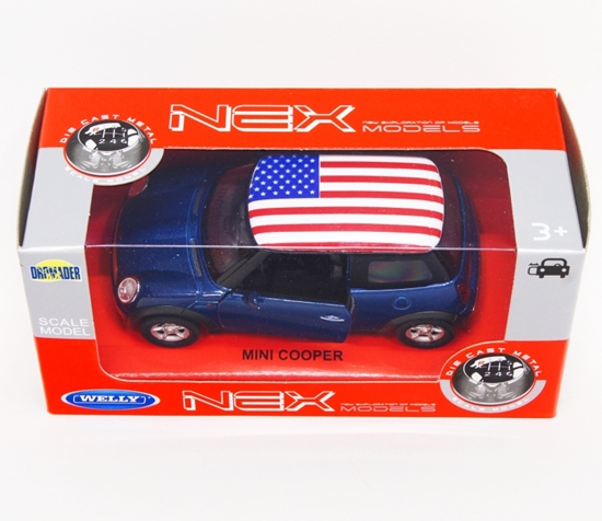 WELLY 1:34 Mini Cooper - USA granatowy