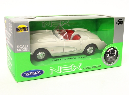 Welly 1:34 Chevrolet 1957 Corvette Cabrio - kremowy