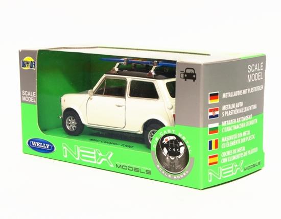 Welly 1:34 Mini Cooper 1300 z deską surfingową - biały