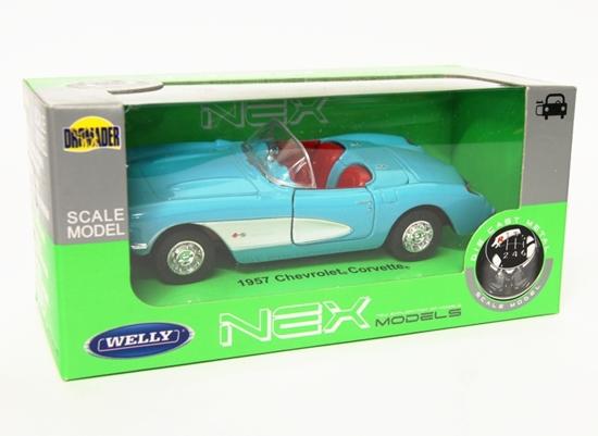 Welly 1:34 Chevrolet 1957 Corvette Cabrio -błękitny