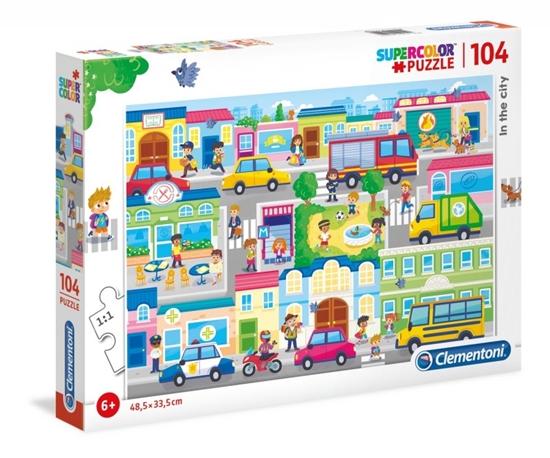 Puzzle 104 elementy Super Kolor - W mieście (27114 CLEMENTONI)