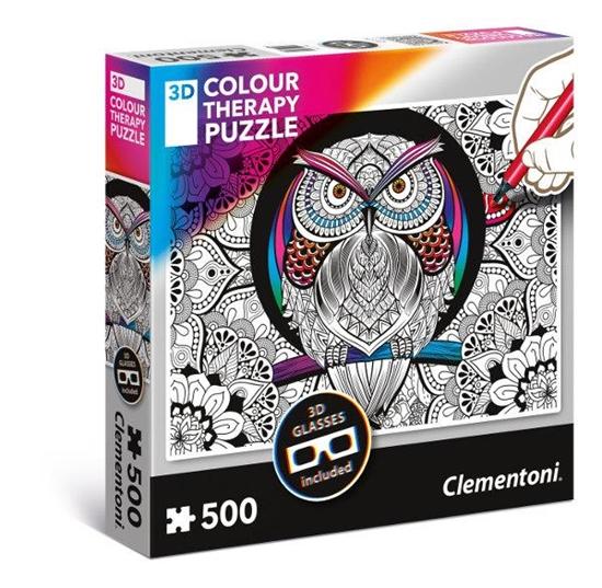 Clementoni Puzzle 3D Color Therapy - Sowa 35050 p6, cena za 1szt. (35050 CLEMENTONI)