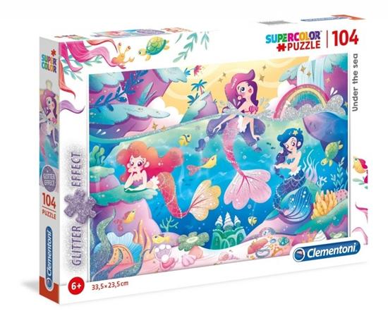 Clementoni Puzzle z brokatem 104el Podwodny świat Syreny 20149 p6 (20149 CLEMENTONI)