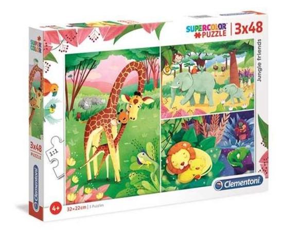 Clementoni Puzzle 3x48el SUPER KOLOR  Przyjaciele z dżungli 25233 p6 (25233 CLEMENTONI)