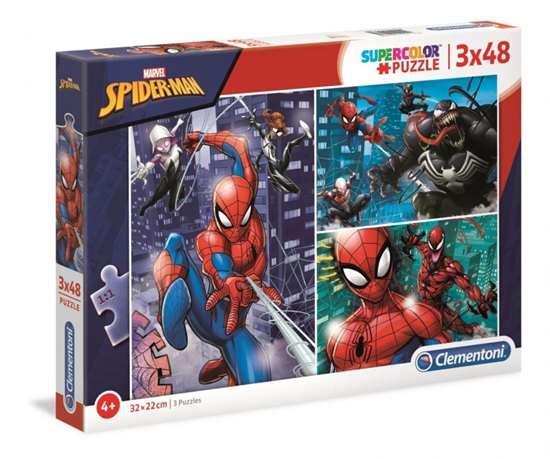 Puzzle 3x48 elementów Super Kolor Spider-Man (25238 CLEMENTONI)