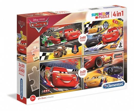 Puzzle 2x20 + 2x60 elementów Super Kolor Auta (21305 CLEMENTONI)