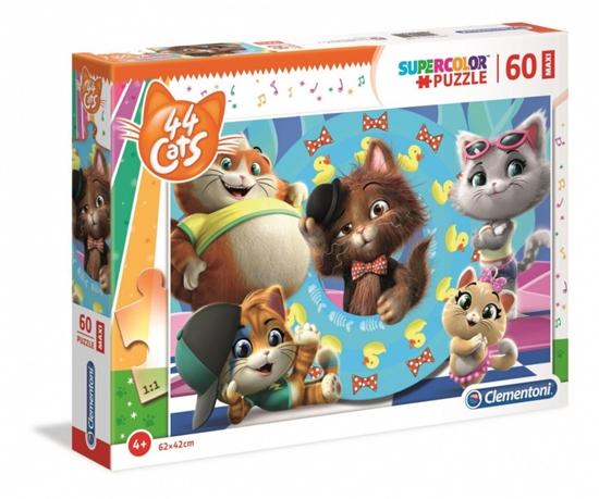 Puzzle 60 elementów Maxi Super Kolor 44 koty (26441 CLEMENTONI)