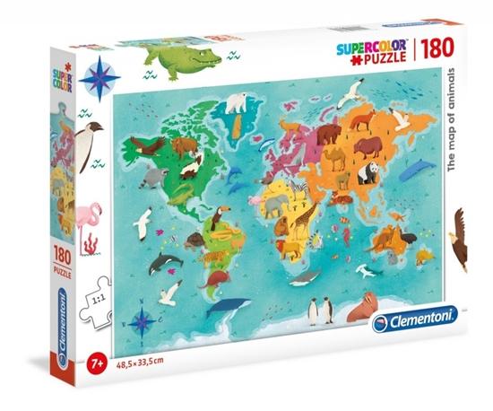 Puzzle 180 elementów Super Kolor - Mapa zwierząt (29753 CLEMENTONI)