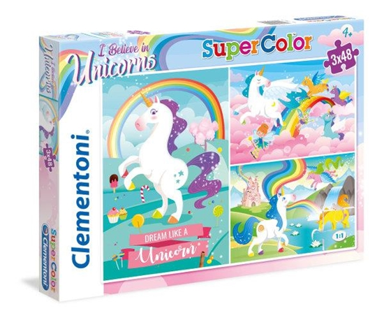 Clementoni Puzzle 3x48el I Believe in Unicorns 25231 p6, cena za 1szt. (25231 CLEMENTONI)