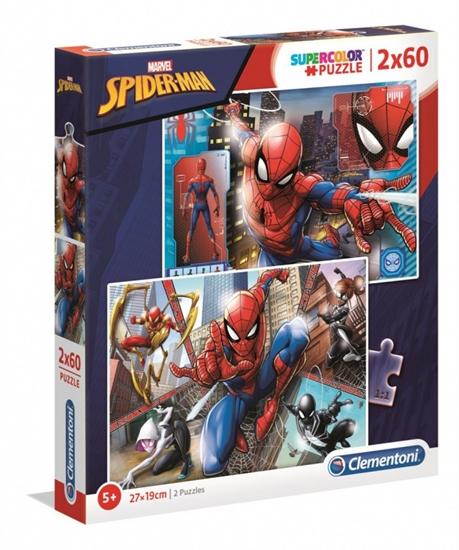 Puzzle 2 x 60 elementów Super Kolor Spider-Man (21608 CLEMENTONI)