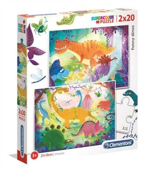 Clementoni Puzzle 2 x 20el SUPER KOLOR Śmieszne dinozaury 24755 p6 (24755 CLEMENTONI)