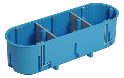 Puszka podtynkowa potrójna 60mm regips głęboka niebieska P3x60D samogasnąca bezhalogenowa 32104203