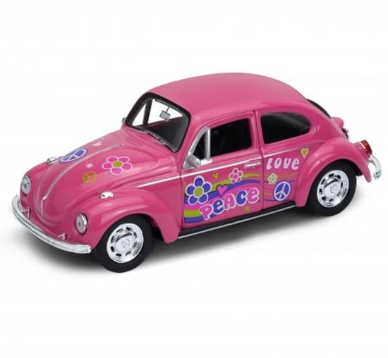 Welly 1:34 Volkswagen Beetle - PEACE & LOVE - różowy