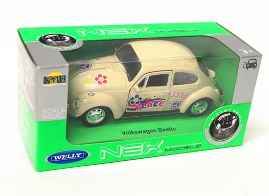 Welly 1:34 Volkswagen Beetle - PEACE & LOVE - kremowy