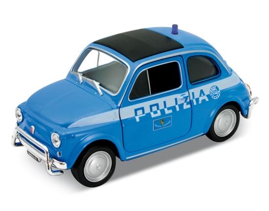 Welly 1:34 Fiat Nuova 500 Policja -niebieski