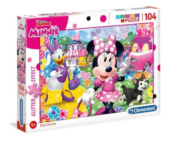 Clementoni Puzzle 104el z brokatem Minnie Mouse 20146 (20146 CLEMENTONI)
