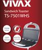 Opiekacz Toster Vivax TS-7501WHS, Biały,750W,NonStick, Inox