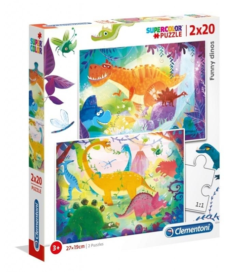 Puzzle 2x20 Funny Dinos (24755 CLEMENTONI)