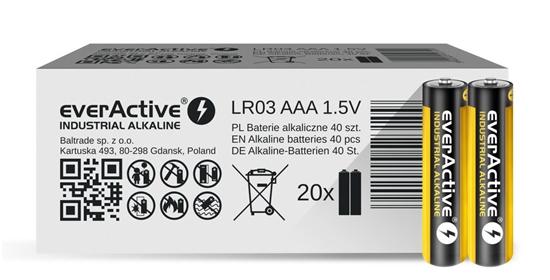 40 x baterie alkaliczne everActive Industrial LR03 / AAA (pakowane w zgrzewki shrink po 2szt.)