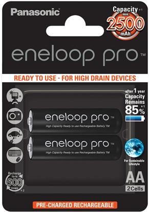 2 x Panasonic Eneloop PRO R6/AA 2500mAh BK-3HCDE/2BE (blister)