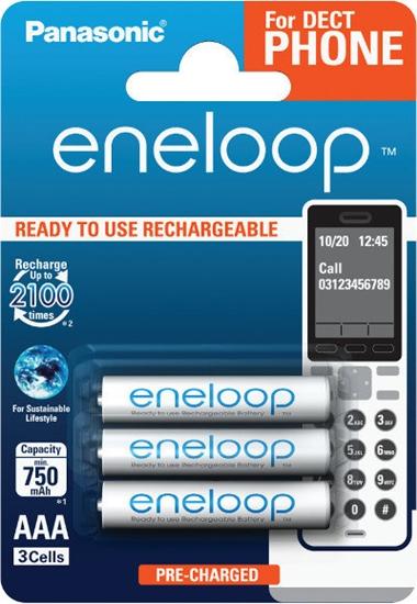 3 x akumulatorki Panasonic Eneloop R03 AAA 800mAh for DECT BK-4MCCE/3DE (blister)