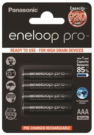 4 x akumulatorki Panasonic Eneloop PRO R03 AAA 930mAh BK-4HCDE/4BE (blister)