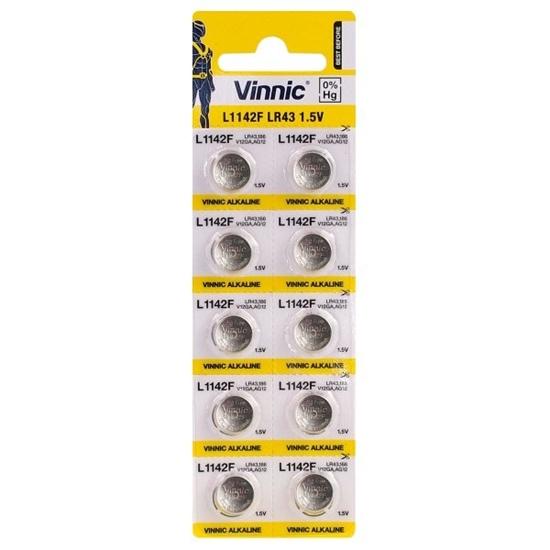 10 x bateria alkaliczna mini Vinnic G12 / AG12 / L1142 / LR43 / 186 / V12GA / RW84 / D186