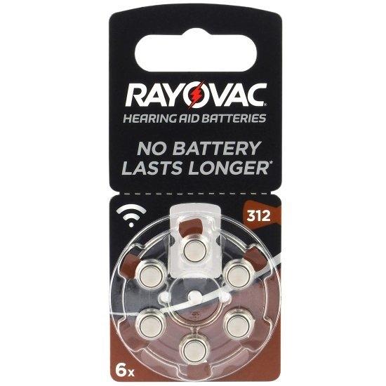 6 x baterie do aparatów słuchowych Rayovac Acoustic Special 312