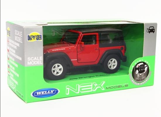 WELLY 1:34 Jeep Wrangler Rubicon z dachem - czerwony