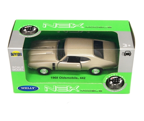 Welly 1:34 1968 Oldsmobile 442 - srebrno-złoty