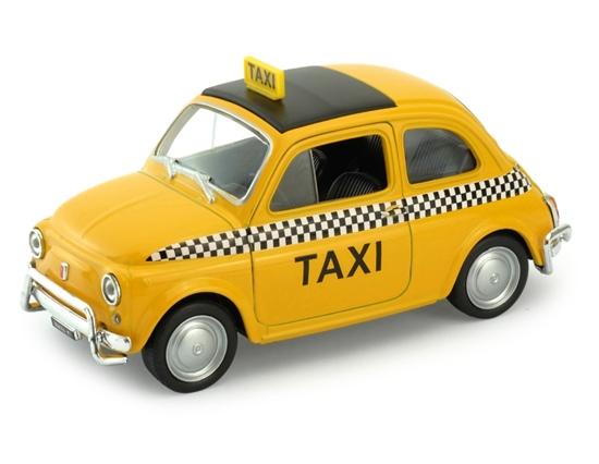 Welly 1:34 Fiat Nuova 500 Taxi -żółty