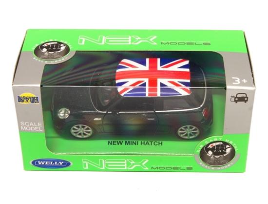 Welly 1:34 New Mini Hatch - zielony z flagą brytyjską