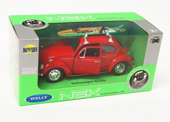 Welly 1:34 Volkswagen Beetle z deską surfingową-czerwony