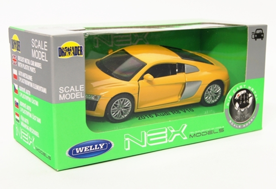 Welly 1:34 Audi R8 V10  -żółty