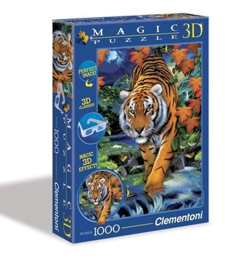 Clementoni Puzzle 1000el 3D Tygrys 39185 (39185 CLEMENTONI)