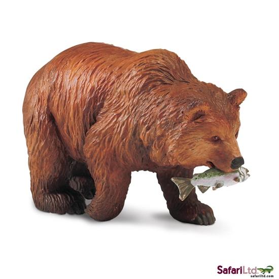 Safari Ltd 281929 Niedźwiedź Grizzli z łososiem 9,6x4x5,6cm