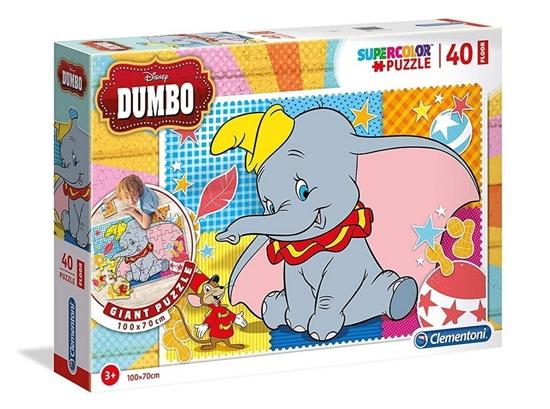 Puzzle 40 podłogowe Super kolor Dumbo (25461 CLEMENTONI)