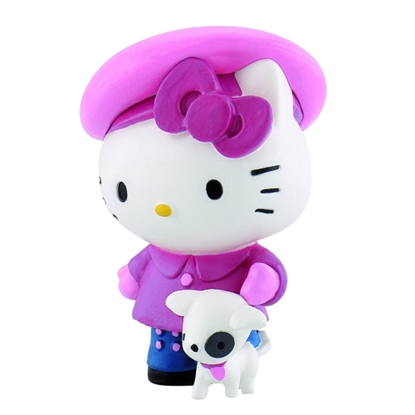 BULLYLAND 53446 Hello Kitty na spacerze z pieskiem  5,5cm