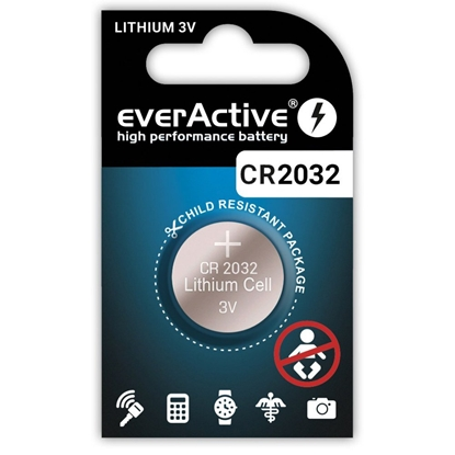1 x bateria litowa mini everActive CR2032