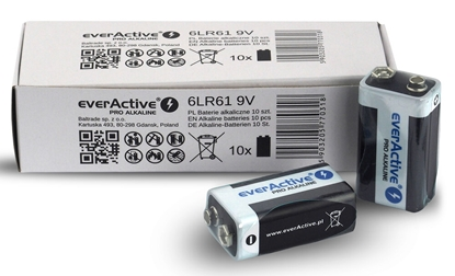 10 x baterie alkaliczne everActive Pro 6LR61 / 6LF22 9V (kartonik/folia)
