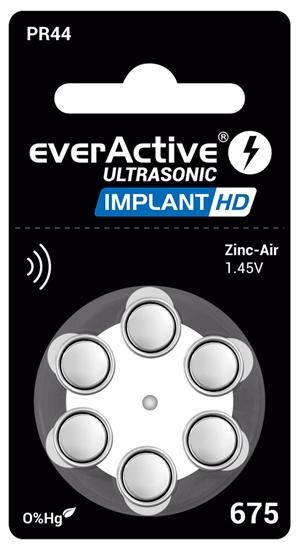 6 x baterie do aparatów słuchowych everActive ULTRASONIC IMPLANT HD 675