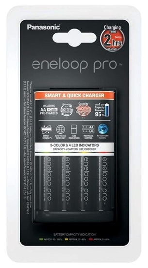 Ładowarka akumulatorków Ni-MH Panasonic Eneloop BQ-CC55 + 4 x R6/AA Eneloop PRO 2500mAh BK-3HCDE