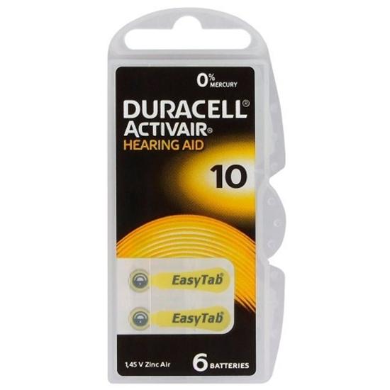 6 x baterie do aparatów słuchowych Duracell ActivAir 10