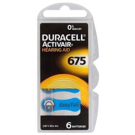 6 x baterie do aparatów słuchowych Duracell ActivAir 675