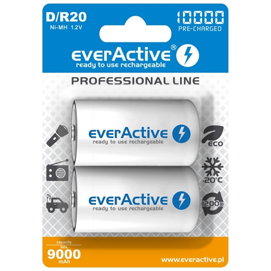 2 x akumulatorki everActive R20/D Ni-MH 10000 mAh ready to use